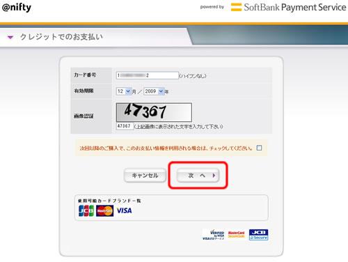 クレジットカードの情報と画像認証の数字を入力